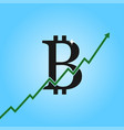 bitcoin growth graph bitcoin sign with arrow up vector image vector image