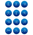 Blue round sporting icons vector image