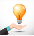 bulb with human hand vector image vector image