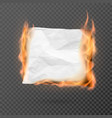 burning piece crumpled paper with copy space vector image vector image