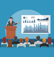 businessmen giving speech or presenting charts on vector image