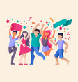 cartoon color characters people crowd joyful vector image vector image