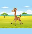 cartoon happy giraffe in the african landscape vector image vector image