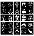 Christmas black-white icon set vector image vector image