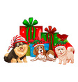 Christmas theme with dogs and presents vector image