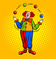 circus clown juggles with balls pop art vector image vector image