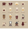 Coffee icon set menu vector image vector image