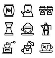 coffee related icon set line style vector image vector image