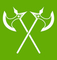 crossed battle axes icon green vector image vector image