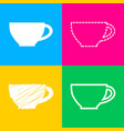 cup sign four styles of icon on four color vector image vector image