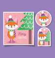cute fox happy christmas tags vector image