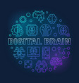 digital brain round blue line concept vector image vector image