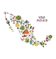 doodles set mexico in geographic map vector image