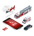 Emergency concept Ambulance Police Fire truck vector image