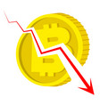 falling bitcoin - coin with currency sign broken vector image