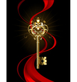 Golden Key with a Fleur de Lis vector image vector image
