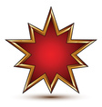 Heraldic 3d glossy star shaped icon with golden vector image vector image