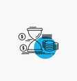 hourglass management money time coins line icon vector image