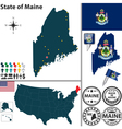 Map of Maine vector image vector image