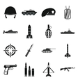 Military icons set simple style vector image vector image