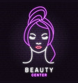 neon sign woman face for logo label badge vector image