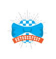 oktoberfest label with a bowtie icon vector image vector image