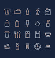 plastic packaging disposable tableware line icons vector image vector image