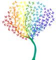 Rainbow butterflies tree vector image vector image