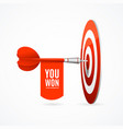 realistic detailed 3d darts banner you won concept vector image vector image