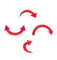 red curved arrow with shadows vector image vector image