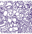 seamless pattern space doodle futuristic vector image