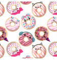 seamless pattern with cute cartoon donuts vector image vector image