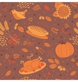 Seamless pattern with pumpkins leaves wheat and vector image