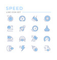 set color line icons speed vector image vector image