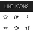 set of 6 editable food icons includes symbols vector image vector image