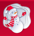 snowman wearing santa hat vector image