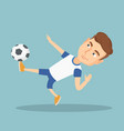 soccer player kicking a ball vector image vector image