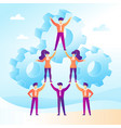 teamwork concept with business people forming a vector image