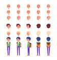 teenager emotions and hairstyles icons set vector image vector image