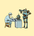 the robot came to repair the head electronics vector image vector image