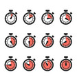 timer icons stopwatch set isolated vector image