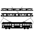 Tram silhouettes vector image