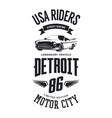 vintage cabriolet vehicle t-shirt logo vector image vector image