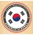vintage label cards south korea flag vector image