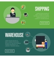 Warehouse logistics and shipping banners set vector image