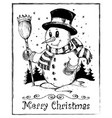 winter snowman theme drawing 2 vector image