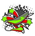 with cartoon skateboard vector image