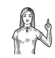 woman with index finger up sketch engraving vector image vector image