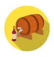 Wooden wine barrel icon in flat style isolated on vector image vector image