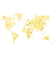 World map mosaic of yellow dots vector image vector image